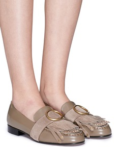 Chloé 'Olly' fringe suede trim calfskin leather loafers