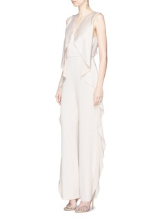 alice + olivia 'Sarandon' ruffle satin jumpsuit