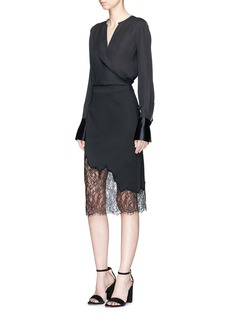 alice + olivia 'Evana' floral lace panel skirt