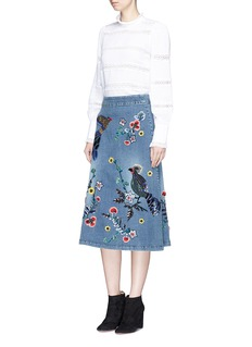 alice + olivia 'Libbie' bird and flower embellished A-line denim midi skirt