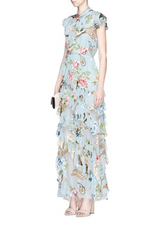 alice + olivia 'Lessie' scarf ruffle floral fil coupé chiffon dress