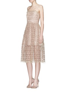 alice + olivia 'Alma' sequin metallic guipure lace dress
