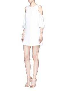 alice + olivia 'Coley' ruffle cold shoulder shift dress