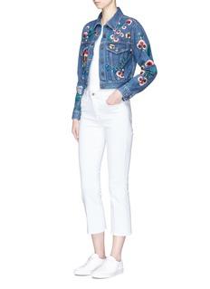 alice + olivia 'Chloe' floral embellished cropped denim jacket