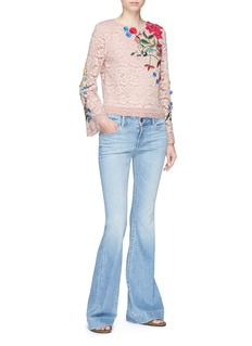 ALICE + OLIVIA Pasha珠饰花卉刺绣蕾丝上衣