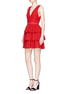 alice + olivia 'Clora' tiered corded lace mini dress
