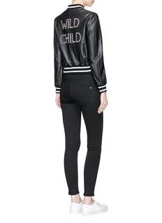 alice + olivia 'Demia' ring embellished slogan cropped leather bomber jacket
