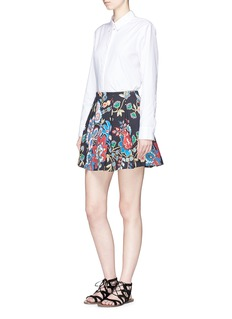 alice + olivia 'Connor' floral tapestry print pleated twill skirt