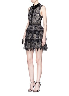 alice + olivia 'Ellis' tiered floral guipure lace dress