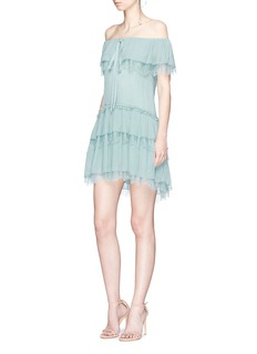 alice + olivia 'Flora' off-shoulder tiered ruffle dress