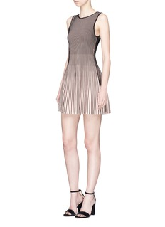 alice + olivia 'Paulie' ottoman rib knit flared dress