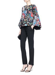 alice + olivia 'Baska' bell sleeve floral tapestry print twill blouse