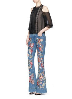 alice + olivia 'Ryley' floral tapestry embroidered flared jeans