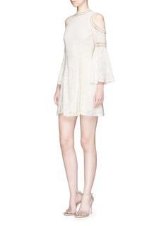 alice + olivia 'Enya' floral embroidered lace cold shoulder dress