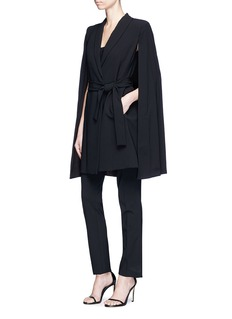 alice + olivia 'McGuire' belted cape overlay long suiting coat