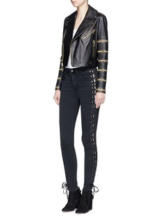 alice + olivia 'Cody' stripe embellished cropped leather biker jacket