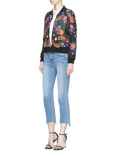 alice + olivia 'Felisa' floral embellished silk bomber jacket