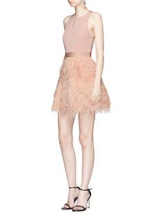 ALICE + OLIVIA Philomena鸵鸟羽毛点缀蕾丝拼接连衣裙