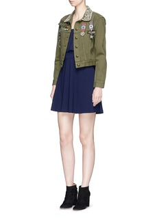 alice + olivia 'Chloe' military pin cropped denim jacket
