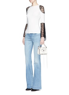 alice + olivia 'Alberta' lace trumpet sleeve knit top