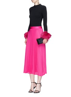 alice + olivia 'Essie' pleated crépon midi skirt