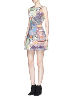 alice + olivia 'Lindsey' enchantress landscape print satin A-line dress