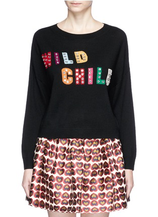 Main View - Click To Enlarge - alice + olivia - 'Bao' strass embellished slogan wool sweater