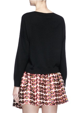 Figure View - Click To Enlarge - alice + olivia - 'Bao' strass embellished slogan wool sweater