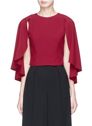 Main View - Click To Enlarge - alice + olivia - 'Babette' cape back overlay cropped crepe top