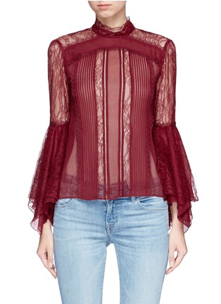 Main View - Click To Enlarge - alice + olivia - 'Ivy' handkerchief cuff guipure lace panelled crépon top
