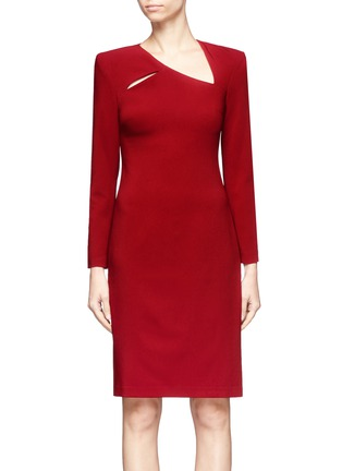 Main View - Click To Enlarge - alice + olivia - 'Scottie' cutout yoke crepe cady dress