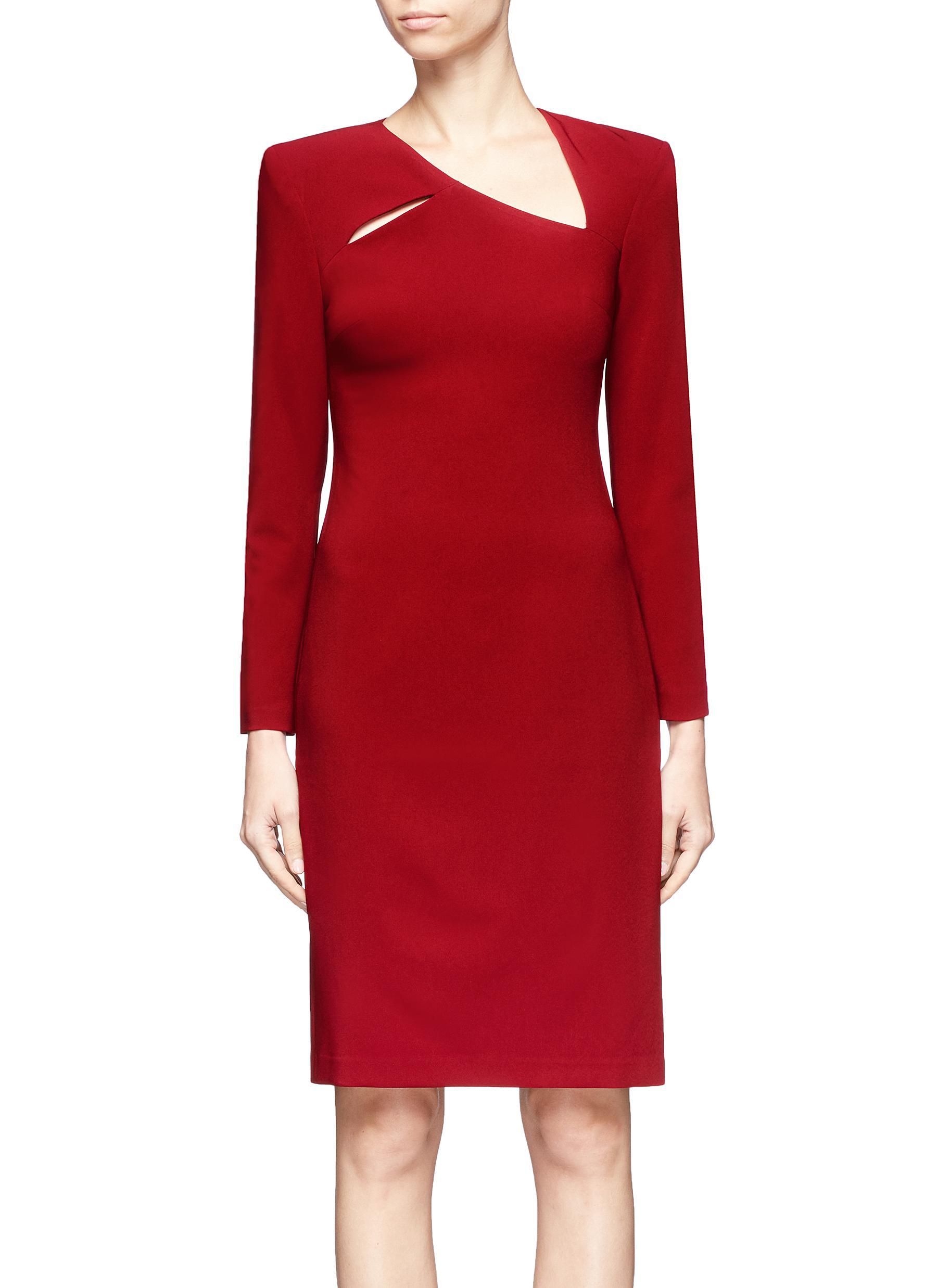 'Scottie' cutout yoke crepe cady dress