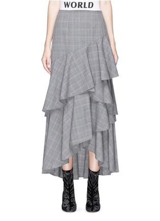 Main View - Click To Enlarge - alice + olivia - 'Martina' check plaid asymmetric ruffle virgin wool skirt