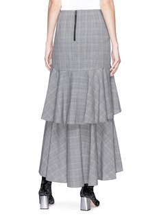 alice + olivia 'Martina' check plaid asymmetric ruffle virgin wool skirt