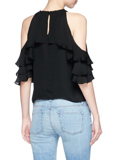 alice + olivia 'Idalla' ruffle cold shoulder silk chiffon top