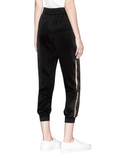 alice + olivia 'Pete' faux pearl outseam satin jogging pants