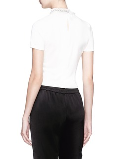 alice + olivia 'Jazmine' faux pearl collar cropped T-shirt