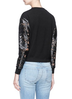 alice + olivia 'Jesse' faux leather floral patch lace panelled sweatshirt