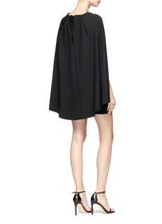 alice + olivia 'Neely' cape back overlay crepe cady dress