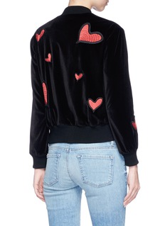 alice + olivia 'Lila' heart patch velvet bomber jacket