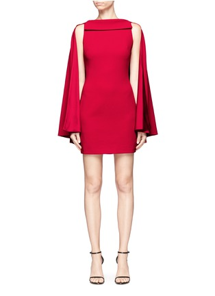 Main View - Click To Enlarge - alice + olivia - 'Neely' cape back overlay crepe cady dress