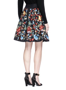 alice + olivia 'Earla' floral embroidered flare skirt