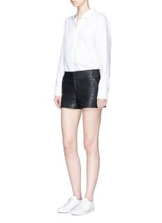 alice + olivia 'Cady' lambskin leather shorts