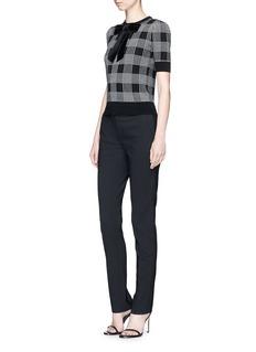 alice + olivia 'Brady' velvet bow check plaid sweater