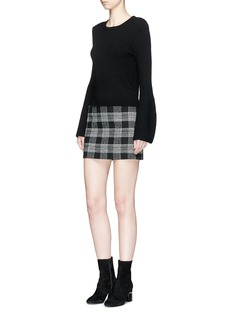 alice + olivia 'Elana' check plaid virgin wool blend mini skirt