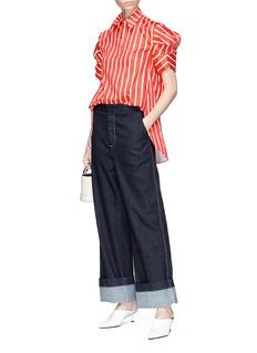 Minki Structural sleeve stripe shirt