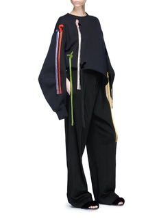 Minki Cocoon sleeve fringed patch oversized sweatshirt