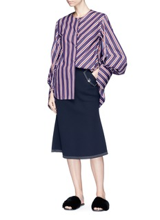 Minki Cocoon sleeve stripe poplin shirt