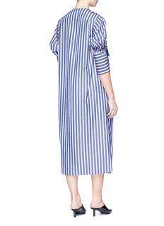 Minki Stripe mock wrap poplin shirt dress
