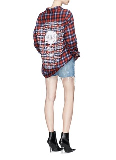 Adaptation Skull graffiti print check plaid shirt